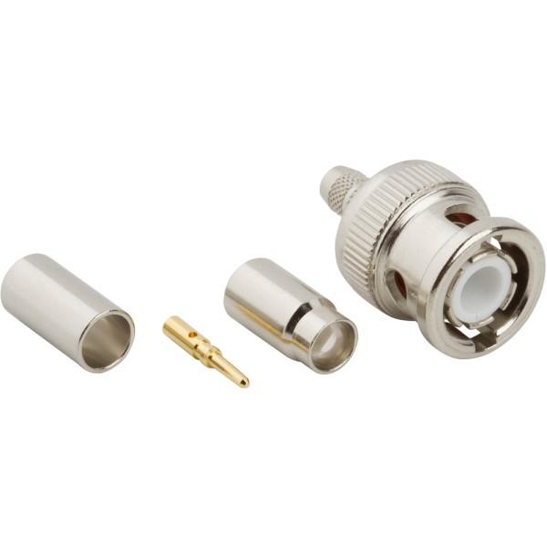 5 Items Conn BNC 0Hz to 4GHz 75Ohm Crimp ST Cable Mount PL Gold 031-70000